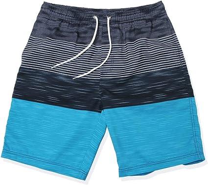 TALLA L. gwell Hombre Rayas resistente al agua Bañador beachs Pantalones Cortos Bañador para hombre Bañador Verano Playa Azul