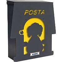 Mia, aluminium box, brievenbus met deur, meerkleurig, 2-delige set