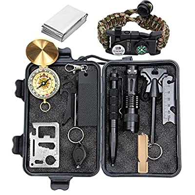 Epartswide Survival Kit 12 in 1 Lifesaving Emergency Tools with SOS Survival Bracelet Flashlight Portable Knife Compass Emergency Blanket Fire Starter Whistle Tactical Pen for Camping Hiking Climbing from Epartswide