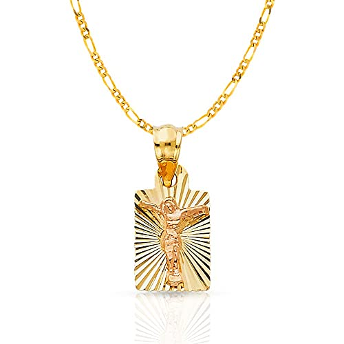 14K Two Tone Gold Crucifix Charm Pendant with 2.3mm Figaro 3+1 Chain Necklace
