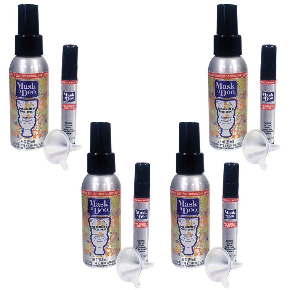 (Set/4) Maskadoo Odor Neutralizing - 3fl oz Spray Bottle & .16fl oz Travel