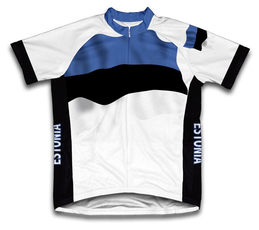 Estonia Flag Radsport Trikot mit kurzer Ärmel für Menner