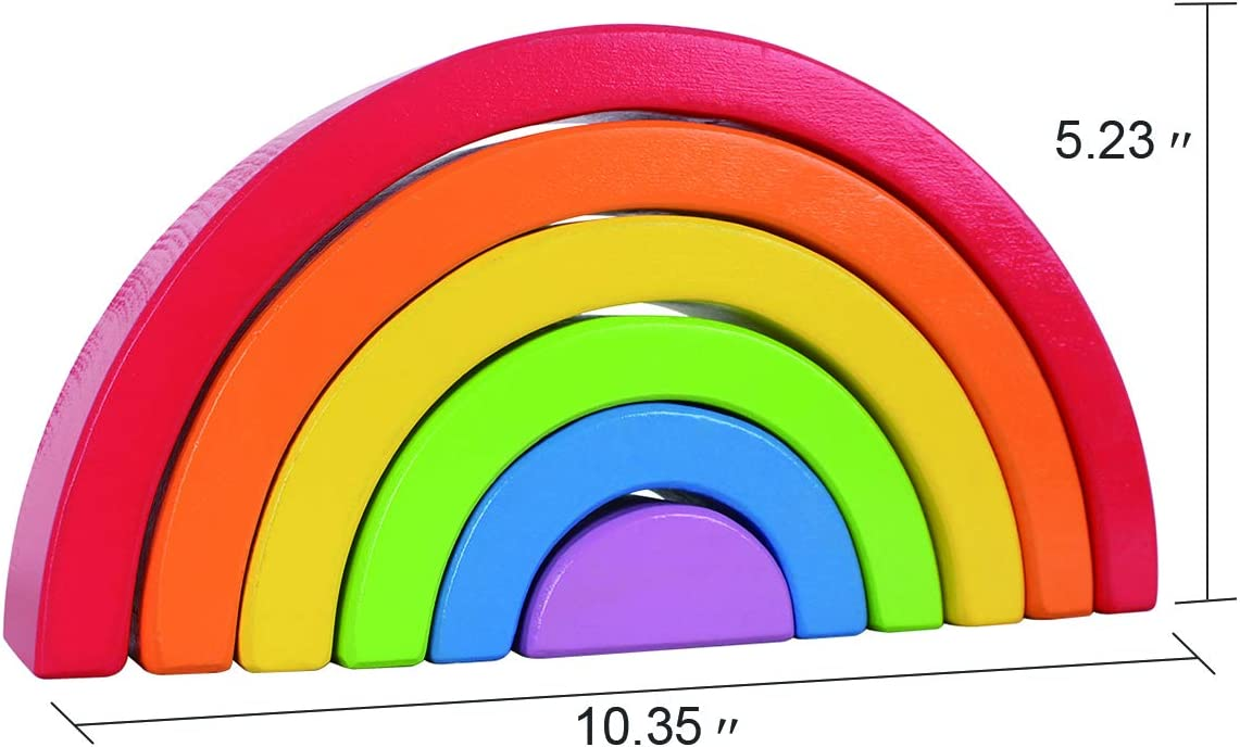 Babe Rock Wooden Rainbow Stacking Toy Montessori Learning Toy Nesting Blocks Stacker Educational Toys for Baby Toddler Kids