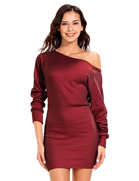 73085523905d ISASSY Women s Off Shoulder Long Sleeve Jumper Bodycon Bandage Party  Evening Slim Sweater Mini Dress Shirt