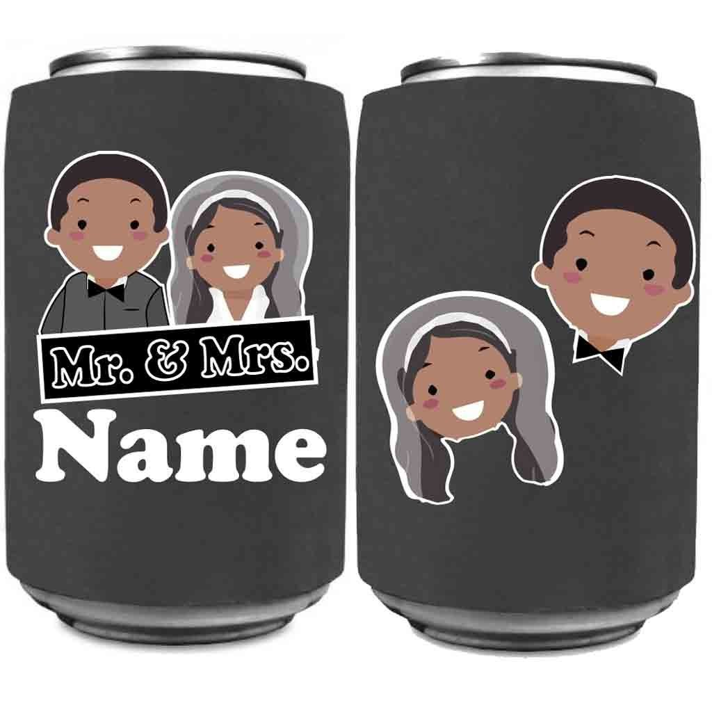 Custom Wedding Can Cooler- Mr. and Mrs. Can Coolers Design #1 (150) by VictoryStore