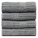 BC BARE COTTON Luxury Hotel & Spa Towel 100% Natural Turkish Cotton Ribbed Channel Pattern Bath (Set of 4), Gray