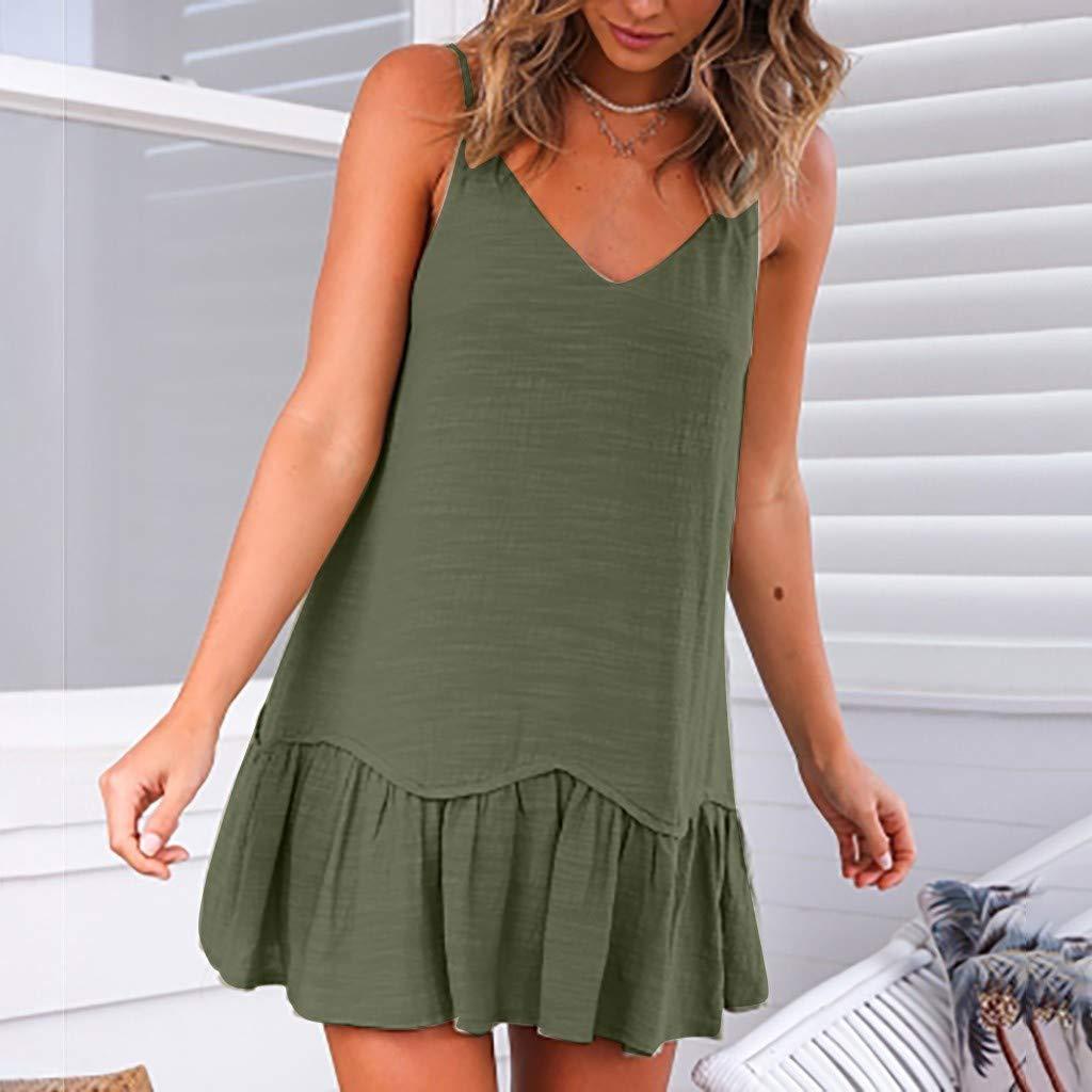 Serzul Womens Spring and Summer Sleeveless Loose Dresses Printing Bohemian Casual Dress Draped Sling Dress