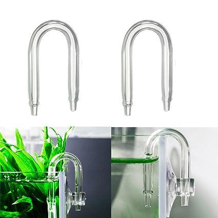 EMVANV Tubo de cristal en forma de U para difusor de acuario Co2