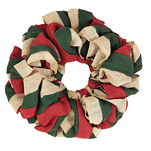 VHC Brands Christmas Holiday Decor - Burlap Tan Round Wreath, 15 x 15, Red, Natural and Green (Burlap Christmas Wreaths Primitive)