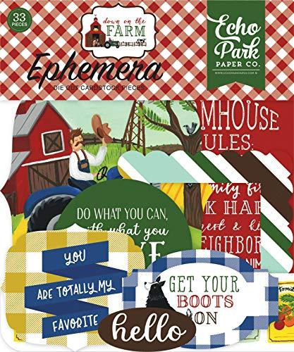 Echo Park Paper Company DO182024 Down On The Farm Ephemera, Blue, red, Yellow, Green
