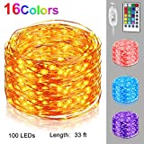 Nasharia 16 Colors LED Fairy Lights with Remote, 33 Ft 100 LEDs String Lights USB Powered Firefly Twinkle Lights Multi Color Changing Waterproof Silver Wire Lights for Bedroom Patio Garden Party
