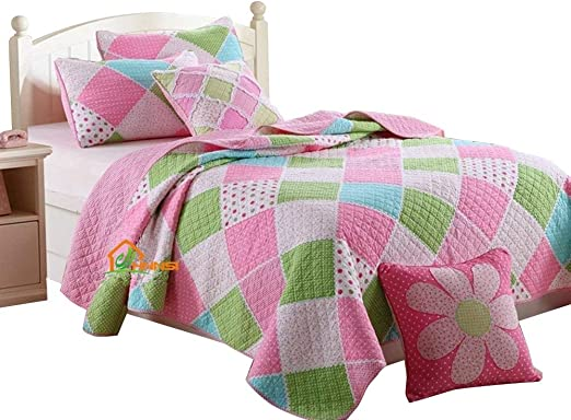 Amazon.com: HNNSI Cotton Kids Girls Quilt Comforter Sets Queen