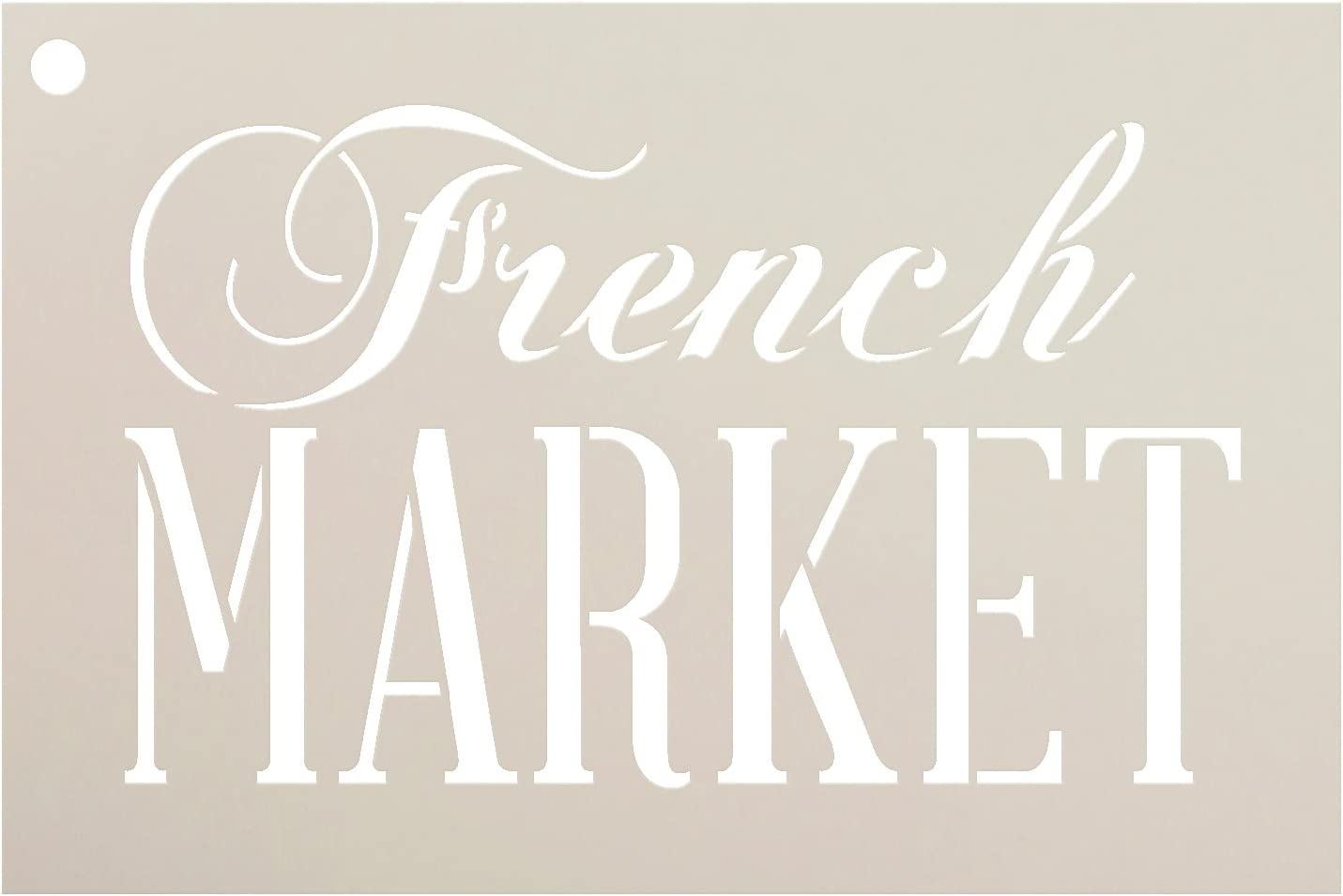 French Market Word Stencil StudioR12   Farmhouse and Elegant - Reusable Mylar Template   Painting, Chalk, Mixed Media   Wall Art, DIY Home Decor - STCL909 - Select Size (5