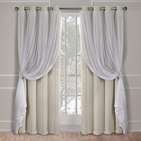 Jacquard Beige Sheer Curtain Tulle Brown Grace Valance Window Treatment 1 Piece