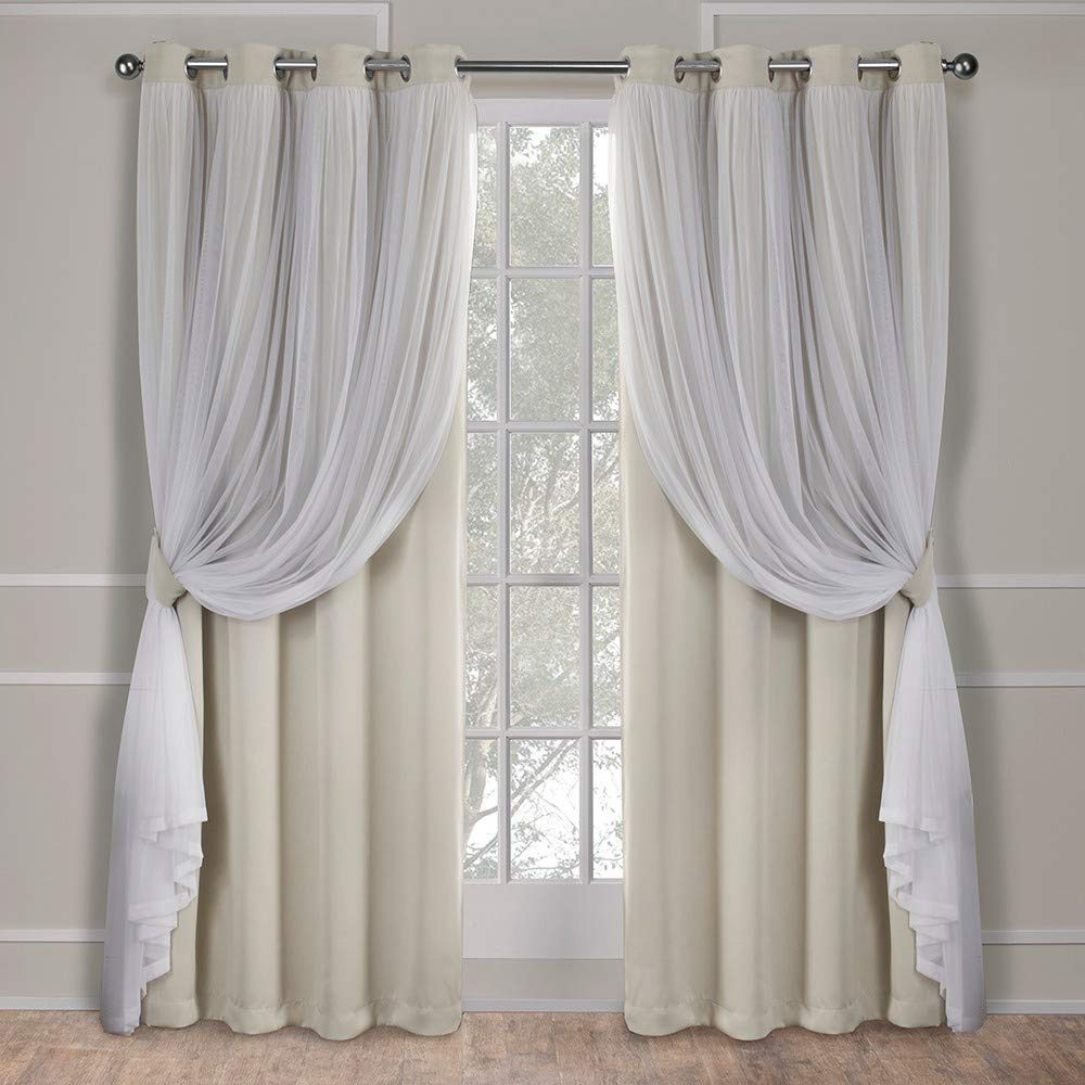 Exclusive Home Curtains Catarina Layered Solid Blackout and Sheer Window Curtain Panel Pair with Grommet Top, 52x84, Sand, 2 Piece