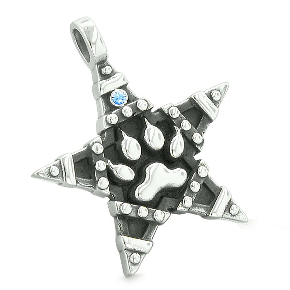 Wolf Paw and Magic Super Star Pentacle Powers Amulet Sky Blue Austrian Crystal Pendant 18 Inch Necklace