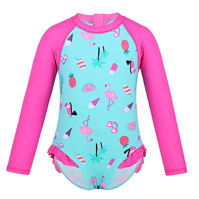 TiaoBug Traje de Baño Bebé Niños de Una Sola Pieza Manga Larga con Protección de Solar UV Bañador de Natación con Estampados Infántil Swimwear Monos