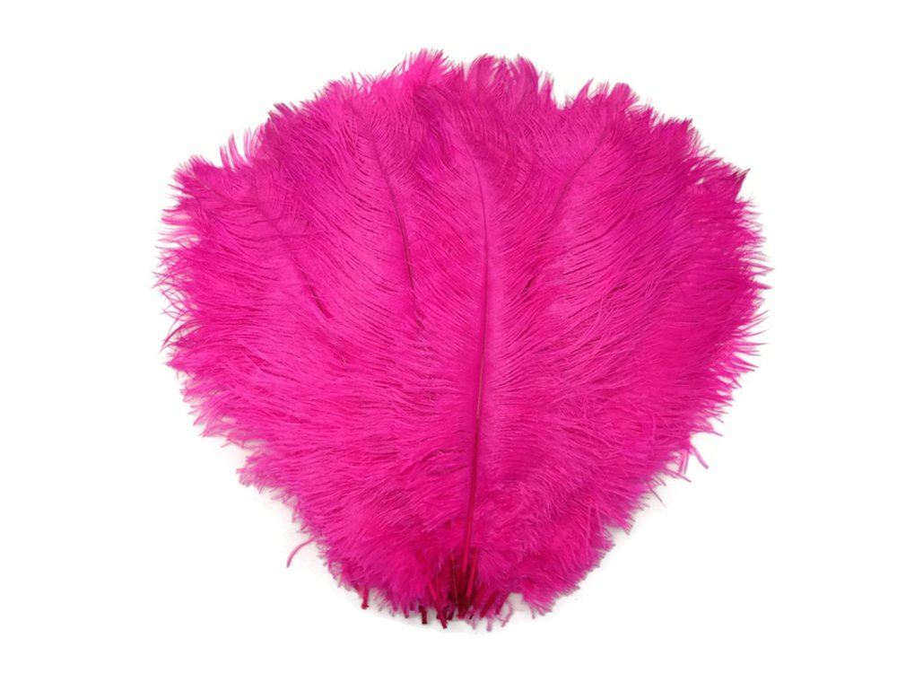 Ostrich Feathers, 1/2 lb - HOT PINK Large Ostrich Drab Feathers 17-21 Inches