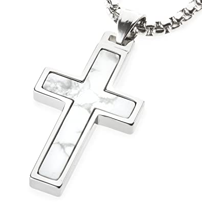 Unique gestalt howlite inlay tungsten cross pendant 4mm wide unique gestalt howlite inlay tungsten cross pendant 4mm wide surgical stainless steel box chain 22 inch length amazon aloadofball Image collections