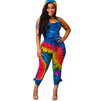 Womens Sexy Halter Printed Jumpsuits Sleeveless Hooded Off Shoulder Long Pants One Piece Rompers: Clothing