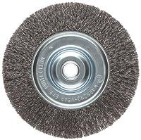 """Weiler Vortec Pro Narrow Face Wire Wheel Brush, Round Hole, Carbon Steel, Crimped Wire, 6"""" Diameter, 0.008"""" Wire Diameter, 5/8-1/2"""" Arbor, 6000 rpm"""