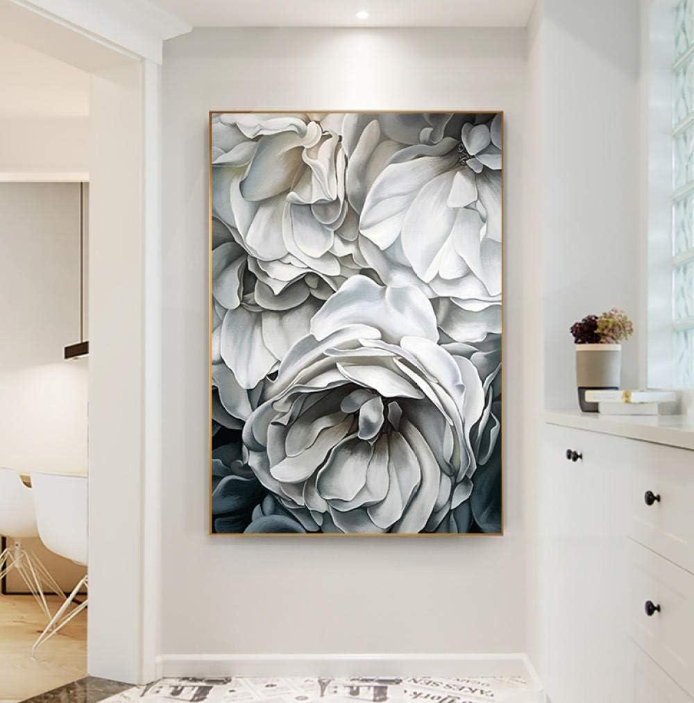 kdasfh Nordic Rosas Blancas Lienzos Pintura Impresi/ón Moderna Decoraci/ón Arte de la Pared Cuadros Para la Sala de estar Dormitorio Pasillo Estudio Entrada Sin Marco