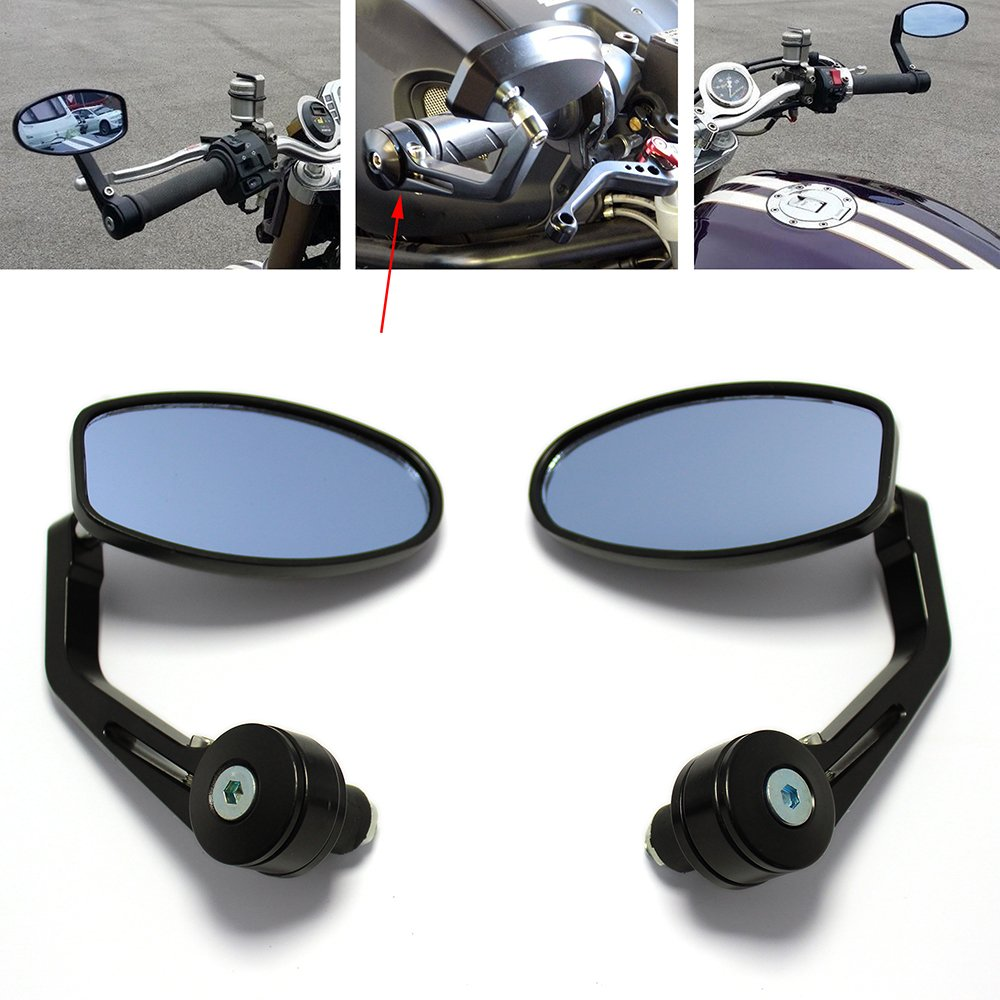Universal 7/8' 22mm Motorcycle Rear View Handlebar End Mirrors Aluminum Side Mirrors Rich Choices