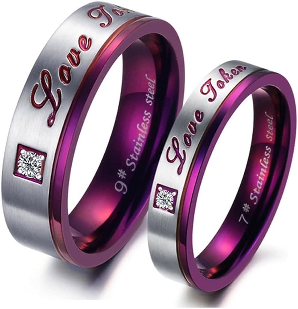 Bishilin Stainless Steel Solitaire Zirconia Purple Love Token Men Wedding Band Promise Rings Size 11