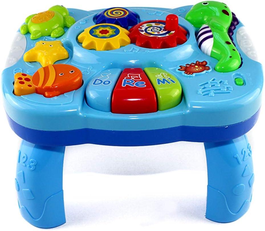 GEDEIHEN Mesa de Aprendizaje Musical, Mesa Actividades Bebe Multifunción, Juguete de Mesa de Música es para Bebés de 18 Meses y Encima, es 100% Seguro y Entretenido