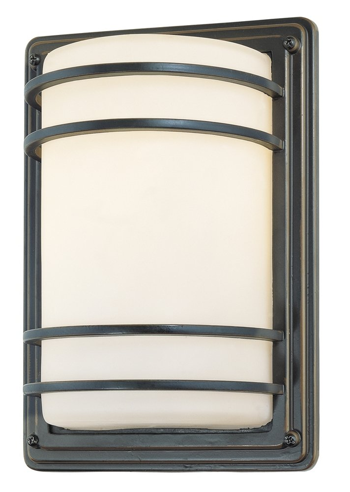 Habitat 11'' High Bronze and Opal Glass Outdoor Wall Light by John Timberland