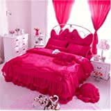 Auvoau Korean Rural Princess Bedding,Delicate Floral Print Lace Duvet Cover,Baby Girl Fancy Ruffle Wedding Bed Skirt,Princess Luxury Bedding Set 4PC (Full, Rose Red)