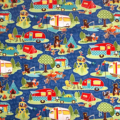 Dish Drying Mat - Pet Placemat - Appliance Mat - RV Camping Mat - Retro Vintage Campers on Blue - 16 x 20 Inches