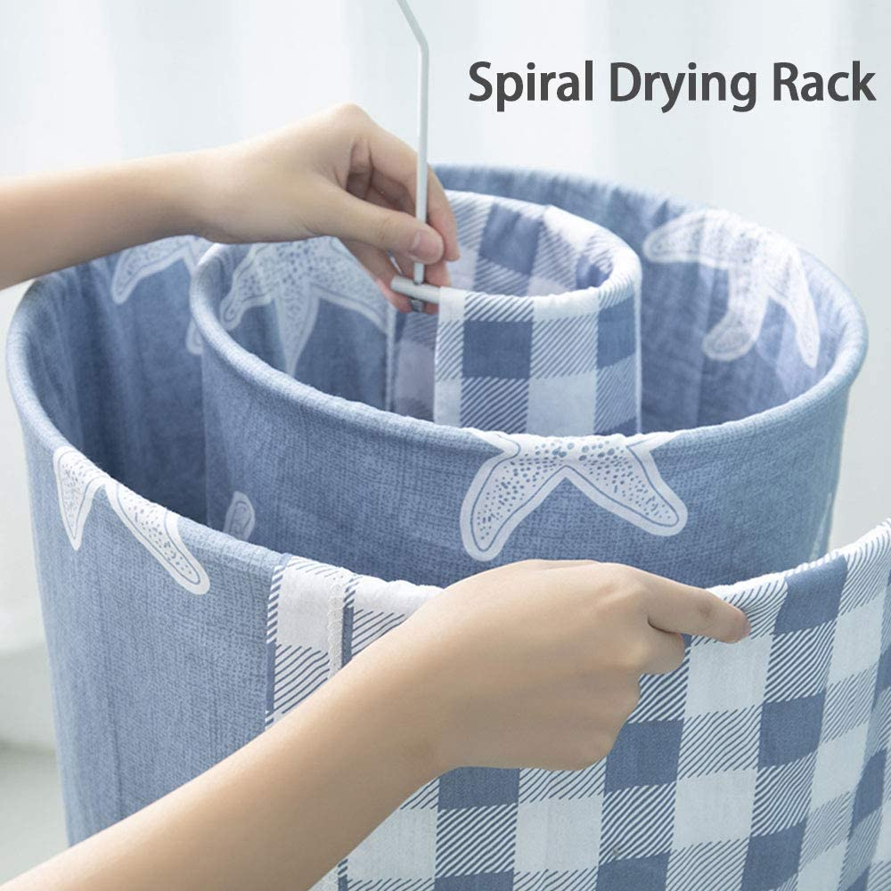 Spiral Shaped Drying Rack Laundry Stand Hanger for Dorm Bed Sheet Coverlet Coverlid Bedspread Scarf Blanket Bath Towel Towelling