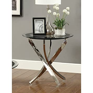 Coaster Home Furnishings Modern Contemporary Round Clear Tempered Glass End  Table   Chrome