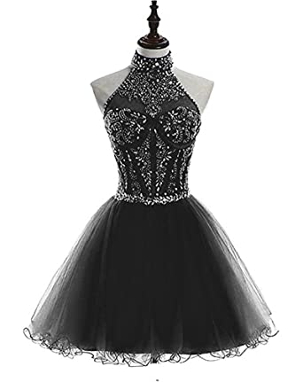 LeoGirl Womens Jewel Embellished High Neck Bodice Short Prom Dresses Juniors Homecoming Sweet 16 Party Dress