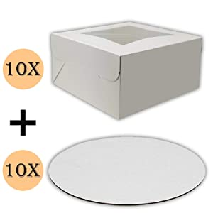Cake Boxes 10 x 10 x 5 and Cake Boards 10 Inch, Bakery Box Has a Clear Window, Cake Board is Round, Cake Supplies, 10 Pack of Each.