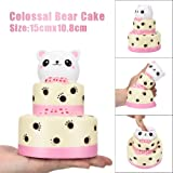 Squishy Toys Soft Slow Rising,Sixcup 15CM Colossal Bear Three-tiered Cake Kawaii Jumbo Scented Birthday Layer Cake Stress Relief Pressure Press Soft Toy (Cream)