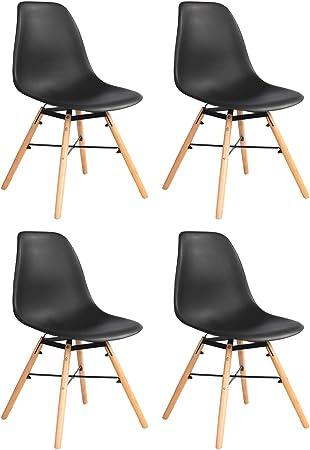 Silla de Comedor Pack 4 Sillas Diseño Moderno Silla de Plástico de ...