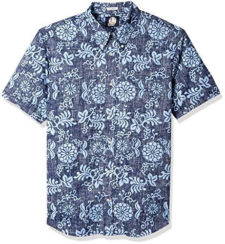 Reyn Spooner Men's Spooner Kloth Tailored Fit Hawaiian Shirt, Royal Chrysanthemums - Navy, M