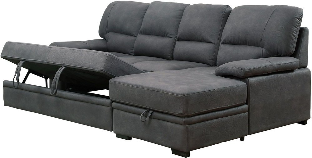 Furniture of America Alcester Graphite Sectional Sleeper ...