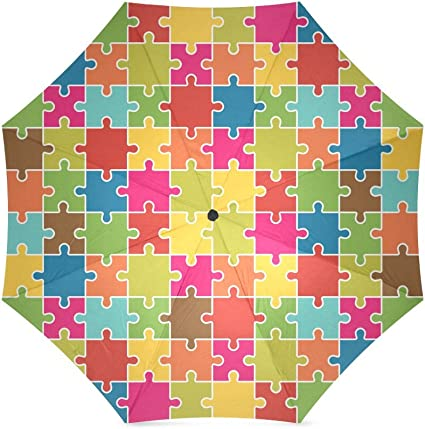 Autism Love Puzzle Piece With Heart Automatic Tri-fold Umbrella Folding Rain Umbrell Sunshade