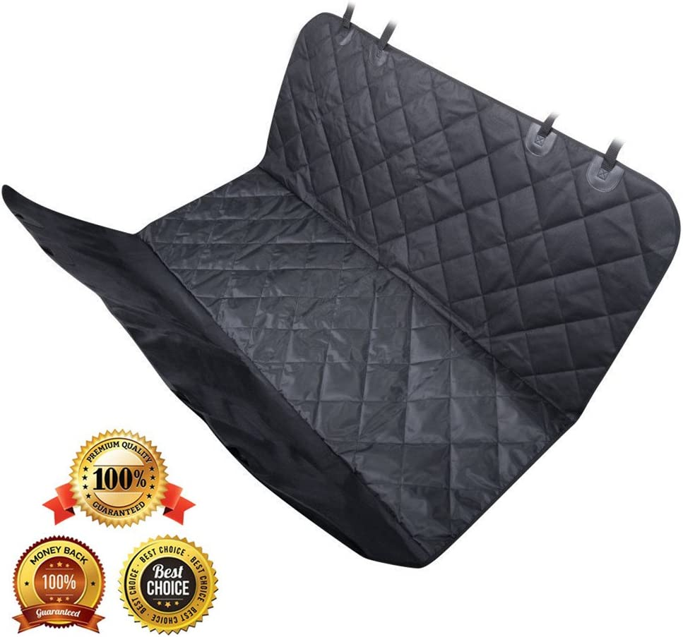 AsyPets Pet Seat Cover for Cars, Trucks, and Suv, Padded Oxford – Dog Seat Cover with Safety Seat Anchors Belt – Black Waterproof Non-slip Backing Hammock Convertible Machine Washable