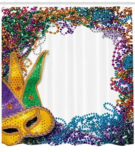 Ambesonne Mardi Gras Shower Curtain, Colorful Framework Design with Vibrant Beads and Mask Fat Tuesday Holiday Theme, Fabric Bathroom Decor Set with Hooks, 70 inches, Multicolor for $<!--$29.95-->