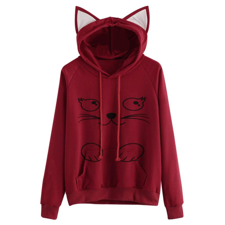 Hoodies Sweatshirt Womens Fashion Autumn Lovely Cat Printed Long Sleeve Sweatshirt Hooded Pullover Tops Sudadera Mujer, Black, L, United States at Amazon ...