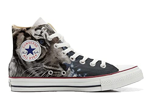 Converse All Star CUSTOMIZED  Sneaker Unisex printed Italian style with White Tiger