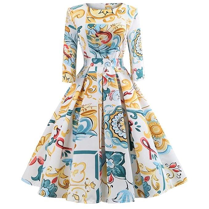 Hffan Damen Elegant Retro-Stil Bedruckt Blumenmuster Kleider mit  Reißverschluss 3 4-Arm 2193255b85