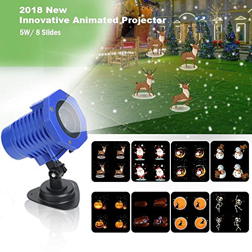 LED Projection Lamps, Party Lights 8 Slides Waterproof IP65 Landscape Movie Motion Show Projector Lights with Remote Control, Perfect for Decoration Lighting on Christmas Halloween Holiday