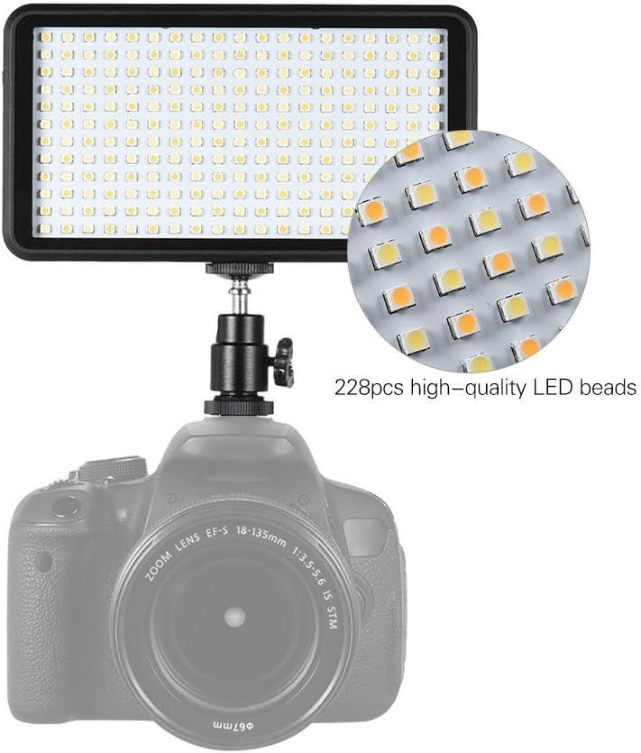 Semoic Ultra-Thin 3200K//6000K Dimmable Studio Video Photography LED Light Panel Lamp 228pcs Beads for Canon Nikon DSLR Camera DV Camcorder