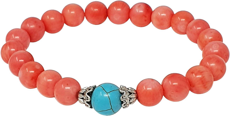 TreasureBay - Pulsera de coral rosa natural para mujer, 19 cm