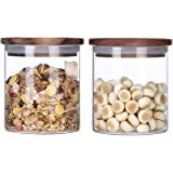 KKC Glass Storage Jars with Airtight Lids,Canister Jars with Wooden Lids,Sealed Glass Containers with Wood LIds,Kitchen…